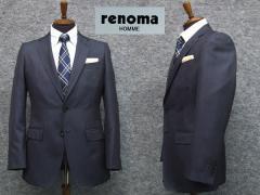 春夏物 [renoma] レノマ スタイリッシュ2釦シングルスーツ 藍紺系ストライプ [A体] メンズ ブランドスーツ 男気