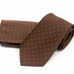 ドット柄ネクタイ ポケットチーフ付 チョコ茶 甲州織 日本製 ポリエステル100% メール便可 FP KOJI YAMAMOTO KJD14