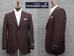 春夏物ジャケット [Ermenegildo Zegna]ゼニア生地 CROSS-PLY使用  [A体][AB体] ベーシック2釦 ボルドー系中格子 EZ502 メンズ