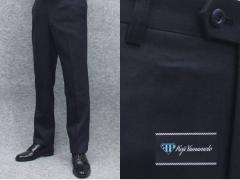 秋冬物 日本製 スリムノータック スラックス 尾州産スーツ生地使用 家庭洗濯可能 ビジネスパンツ 濃紺 無地 W73〜97cm