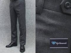 秋冬物 日本製 スリムノータック スラックス スーツ生地使用 家庭洗濯可能 ビジネスパンツ 濃グレー 無地 FP KOJI YAMAMOTO