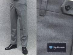 秋冬物 日本製 スリムノータック スラックス スーツ生地使用 家庭洗濯可能 ビジネスパンツ 薄グレー 無地 FP KOJI YAMAMOTO