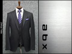 abx スリーピーススーツ ピーク衿 通年物 黒ドット スタイリッシュ2釦スーツ [Y体][A体] メンズ 3ピース スーツ