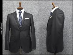 スタイリッシュ2釦スーツ グレー系 ピンストライプ [Y体] 秋冬物 総裏地 メンズスーツ