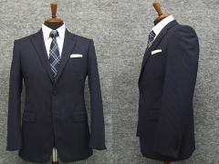 スタイリッシュ2釦スーツ 紺系 ストライプ [Y体][A体][AB体] 秋冬物 総裏地 メンズスーツ