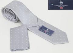 セミナロータイ ポケットチーフ付 白系 シルク100% 結婚式・披露宴 ドット柄 FA05 フォーマルネクタイ メール便可