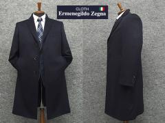 [Ermenegildo Zegna] ゼニア カシミヤ100% 日本製 シングルチェスターコート 濃紺 [YA体〜AB体対応] スタイリッシュタイプ メンズ