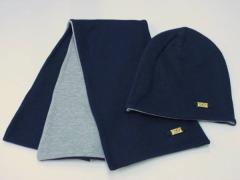 ◆Sharaku ニット帽&マフラー 両面仕様◇綿100%◇無地