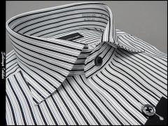 [ALPHA CUBIC] 長袖ドレスシャツ ワイドカラー 白地/黒縞 形態安定 ワイシャツ ALP04