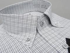 [ALPHA CUBIC] 長袖ドレスシャツ 白×濃淡グレー チェック ボタンダウン 形態安定 ワイシャツ