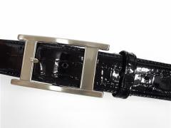 牛革◆エナメルベルト◆黒/ブラック◆クロコ型押し◆中一型バックル〓日本製〓メンズ