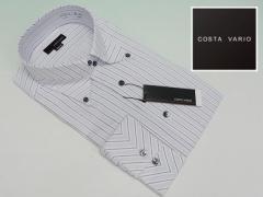 ■high-gradeドレスシャツ■COSTA VARIO■長袖■薄ラベンダー縞■ドゥエ■ボタンダウン■マイター■日本製■綿100%