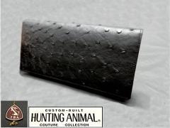 〓天然皮革〓メンズ長財布◆特上オーストリッチ革◆大粒フルポイント◇黒◇無双財布 木箱付