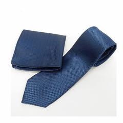 スリムネクタイ ポケットチーフ付 青紺 小市松 甲州織 日本製 ポリエステル100% ナロータイ メール便可 NRB02
