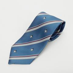 日本製ネクタイ 洗濯機OK ブルー×銀×赤 ペンギン ストライプ 甲州織 メール便OK