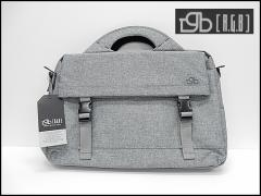 [RGB]アールジービー ビジネスバッグ ブリーフケース 薄灰 布素材 フラップポケット付