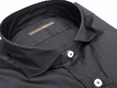 【FIDATO gold】イタリー製 長袖ドレスシャツ ストレッチ素材 黒/無地 カッタウェイ 綿95%