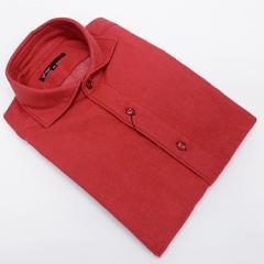 【g-stage】日本製 コットン起毛 赤 無地 カッタウェイ 長袖カラーシャツ  綿100%