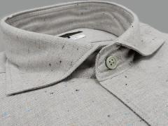 【g-stage】日本製 イタリー生地 コットン起毛 ライトグレー カラーネップ入り カッタウェイ 長袖カラーシャツ