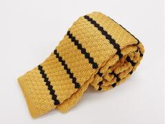 ニットタイ ネクタイ 剣先6cm 山吹×黒 ボーダー縞 凹凸編み メール便選択可能 MN67