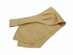 アスコットタイ シルク100% イエローゴールド 丸小紋柄プリント カジュアル系 メール便可 ACT114