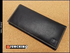 〓JUNCHINO〓ヤギ革◆長財布◆黒×イエロー◆ メンズ 山羊革 ゴートスキン