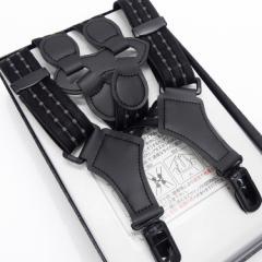 ホルスター型サスペンダー カーボネート金具 日本製 黒 黒系ジャガード縞 ガンホルスタータイプ GUN24