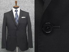 スタイリッシュ2釦スーツ 黒 無地 ストレッチ素材 [YA体][A体][AB体] 通年物 背抜き裏地 就活 ブラックスーツ F17126