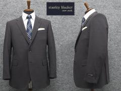 春夏物[STANLEY BLACKER] スタンリーブラッカー ベーシック段返り3釦シングルスーツ ストレッチ グレー [BB体]ブランドスーツ