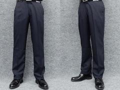 春夏物 ノータック「すっきり」スラックス 濃紺 無地 ウォッシャブル ビジネスパンツ 76cm-94cm