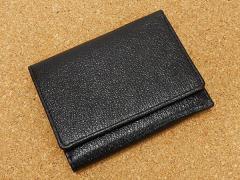 ◆エキストラ◆三つ折り財布◆黒◆日本製◆ピッグレザー/豚革◆AK22-BK