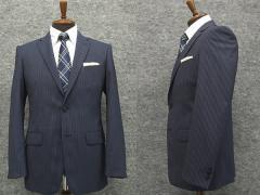 春夏物 スタイリッシュ2釦スーツ 青紺系 ストライプ [A体] 背抜き裏地 メンズスーツ