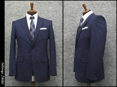 春夏物 スタイリッシュ2釦スーツ 青紺系 ピンストライプ [Y体][A体] 背抜き裏地 メンズスーツ