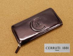 [CERRUTI] チェルッティー 長財布 ラウンドファスナー 小銭入れ付 フェイクレザー 茶 CEL-230