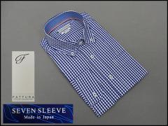 ■FATTURA■7分袖ワイシャツ■Slim fit■青×白■ギンガムチェック■綿100%■日本製■B/D■メンズドレスシャツ■クールビズ F7-02