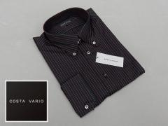 ■high-gradeドレスシャツ■COSTA VARIO■長袖■黒縞■ボタンダウン■日本製■綿100% cos388-42
