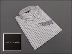 ■high-gradeドレスシャツ■COSTA VARIO■長袖■白地■刺し子縞■ドゥエ■ボタンダウン■日本製■綿100% cos405-2