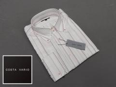 ■high-gradeドレスシャツ■COSTA VARIO■長袖■白地/刺し子縞■ドゥエ■ボタンダウン■日本製■綿100% cos422-1