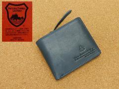 栃木レザー&迷彩◆牛革◆二つ折り財布 青系 カモフラージュ TCG202-BL