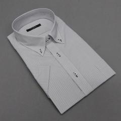 半袖ドレスシャツ Bi MODE クールビズ ボタンダウン グレー系地 ペンシルストライプ 形態安定 吸水速乾 DHBM72-72