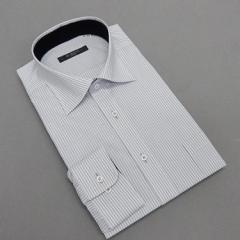 長袖ドレスシャツ Bi MODE ワイドカラー 白地 オルタネートストライプ 形態安定 DABM79-74