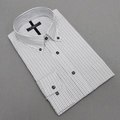 長袖ドレスシャツ Bi MODE ボタンダウン 白地 オルタネートストライプ 形態安定 DABM79-75