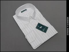 長袖ドレスシャツ Ken COLLECTION ボタンダウン 白地 オルタネートピンストライプ 綿100% 形態安定 高級縫製 DAKK71-13