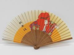 高級シルク扇子 和モチーフ 歌舞伎 骨:竹 扇面:綿 メール便OK SNS-206