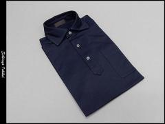 ☆訳あり ビズポロ 半袖 紺系 鹿の子 ワイドカラー COOL MAX スーパークールビズ ビジネスポロシャツ ULP002-WIDE-NV