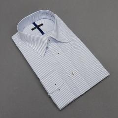 長袖ドレスシャツ color navi レギュラーカラー 白×青系 ダブルストライプ 形態安定 DACV76-13