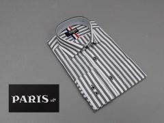 長袖ワイシャツ 白×グレー系 ロンドンストライプ ホリゾンタルカラー PARIS-16e 形態安定 M-3L HKP14