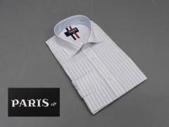 長袖ワイシャツ 白地 アイビーストライプ ホリゾンタルカラー PARIS-16e 形態安定 M-3L HKP16