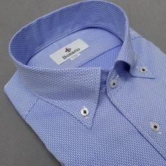 [BONARIO] ワイシャツ スリムフィット ボタンダウン 長袖 青系 変則市松模様 綿100% 形態安定 本縫い ドレスシャツ bon03-250