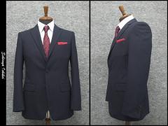 2パンツ スタイリッシュ2釦スーツ 紺系 ストライプ [A体] 秋冬物 総裏地 メンズスーツ GRA57173-88
